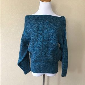 New Anthropologie Blue Off-the-Shoulder Sweater